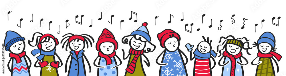 Fototapety, obrazy: Choir, carol singers, stick figures in winter clothing singing song, banner