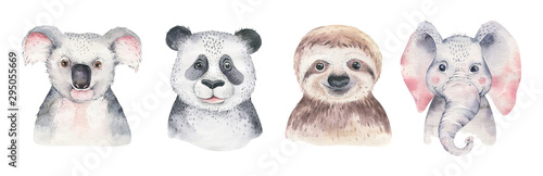 Obraz A poster with a baby panda, sloth, giraffe and koala. Watercolor cartoon elephant tropical animal illustration. Jungle exotic summer print. - fototapety do salonu