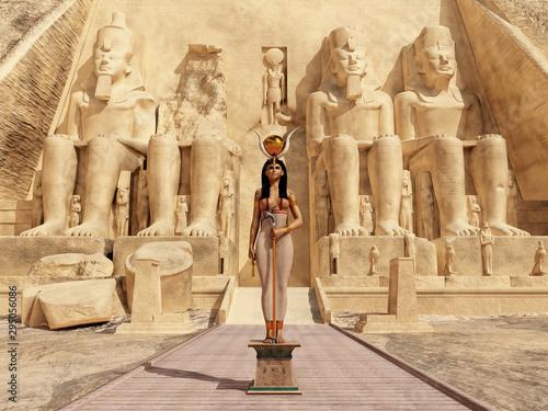 Fotografiet Göttin Hathor vor dem Tempel von Abu Simbel in Ägypten