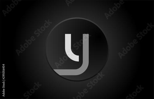 Stampa su Tela  black and white alphabet letter y circle logo icon design