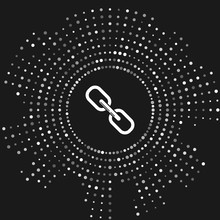 White Chain Link Icon Isolated On Grey Background. Link Single. Abstract Circle Random Dots. Vector Illustration