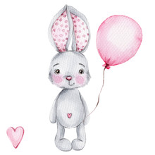 Cute Cartoon Little Bunny With...