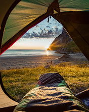 Camping On The Beach At Sunset...