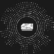 White RAM, random access memory icon isolated on grey background. Abstract circle random dots. Vector Illustration