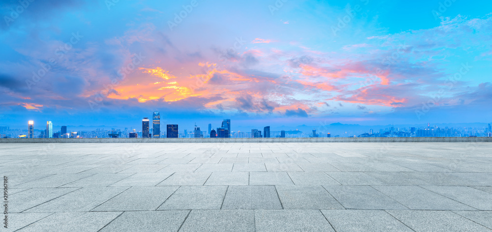 Fototapety, obrazy: Sunset Square Platform and City Skyline in Chongqing