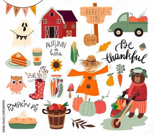 Stampa su Tela Thanksgiving day elements collection with autumnal theme, seasonal elements