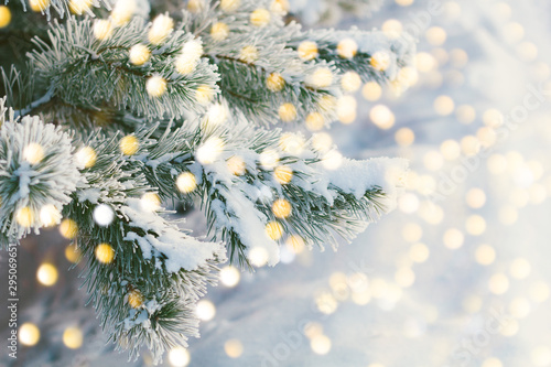 Obraz Christmas and New Year holiday background with bokeh vintage color toned - fototapety do salonu