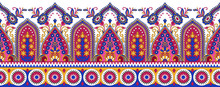 Seamless Textile Fabric Border With Asian Design Elements On White Background