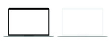 Realistic Blank Screen Laptop Computer Isolated On White Background, Tow Tone.