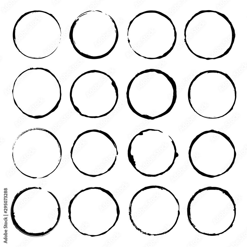 Fototapety, obrazy: Vector set of grunge circle brush vector illustration
