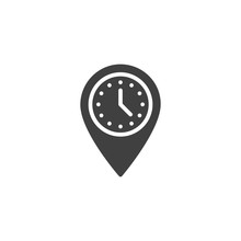 Meeting Point Vector Icon. Map Marker With Clock Filled Flat Sign For Mobile Concept And Web Design. Rendezvous Time Location Pin Glyph Icon. Symbol, Logo Illustration. Vector Graphics