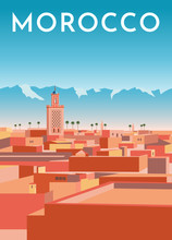Morocco Travel Retro Poster, V...