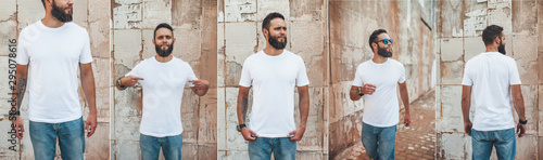 Fotografia, Obraz Collage of photos with young bearded guy in blank white t-shirt