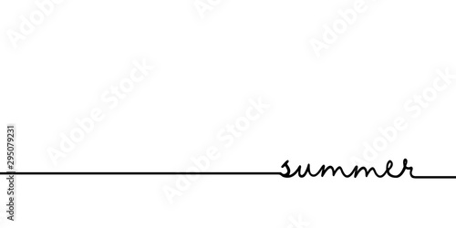 Summer - continuous one black line with word Fototapet