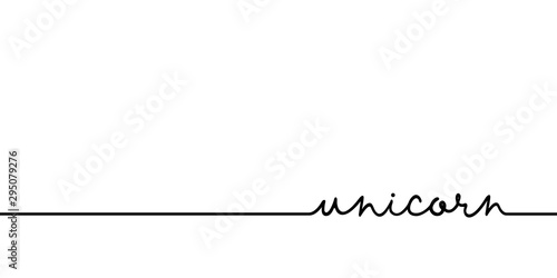 Unicorn - continuous one black line with word Tablou Canvas
