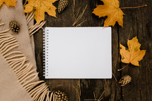 White Blank Notebook And Pen O...