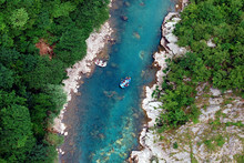 Aerial View Of Mountain River Rafting