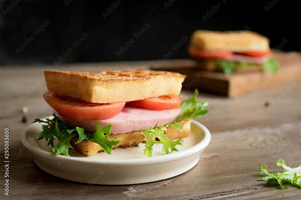 Fototapety, obrazy: waffle sandwich with ham and tomato