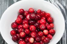 Red Ripe Cranberries White Pla...