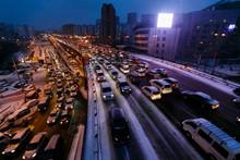 Car Traffic Jams Due To Snowfa...