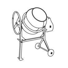 Concrete Mixer Contour Vector Illustration