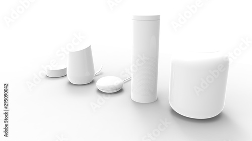 Photo 3d rendering of a collection of smart speakers on white background