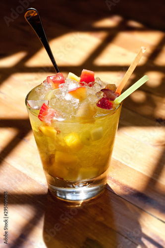 Fotografie, Obraz Cobbler refreshing alcoholic cocktail with fruits