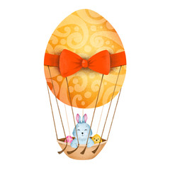 Cute easter illustration. Easter bunny. Hand drawn illustration