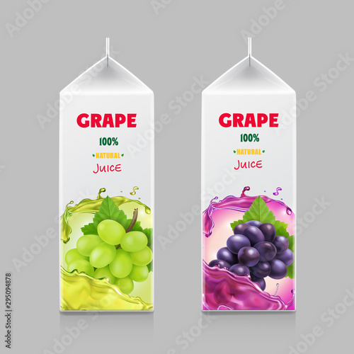 Packaging design for grape juice. Cardboard pack with realistic grapes branch Fototapete