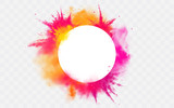 Fototapeta Miasto - Color splash Holi powder paints round border isolated on transparent background colorful cloud or explosion, decorative vibrant dye for traditional indian festival Realistic 3d vector illustration