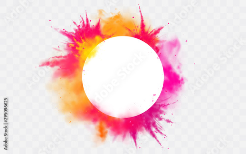 Color splash Holi powder paints round border isolated on transparent background colorful cloud or explosion, decorative vibrant dye for traditional indian festival Realistic 3d vector illustration - 295096625