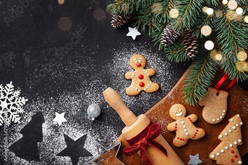 Christmas baking background Canvas Print