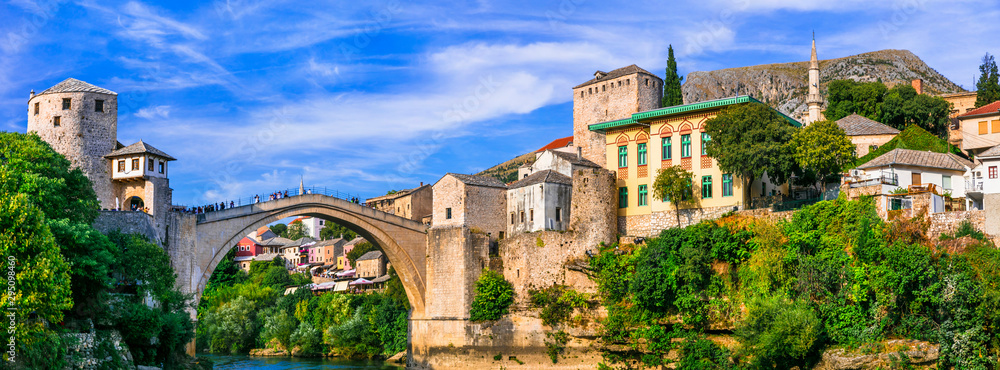 Mostar - iconic old town with famous bridge in Bosnia and Herzegovina. popular tourist destination