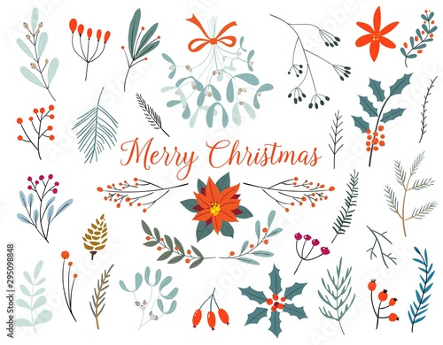 Hand drawn decorative christmas holly, misletoes, plant branches, twigs design element set. Winter Bouquets. Wall mural