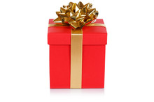 Christmas Present Birthday Gift Red Box Ribbon Isolated On White