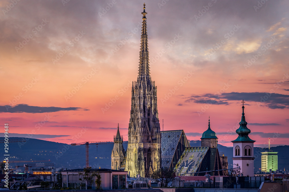 Fotografie, Obraz Vienna Skyline at night with St