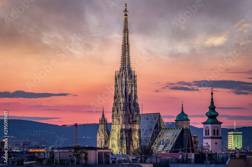 Vienna Skyline at night with St Canvas Print