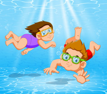 Boy And Girl Playing And Swimming In Pool Under The Water