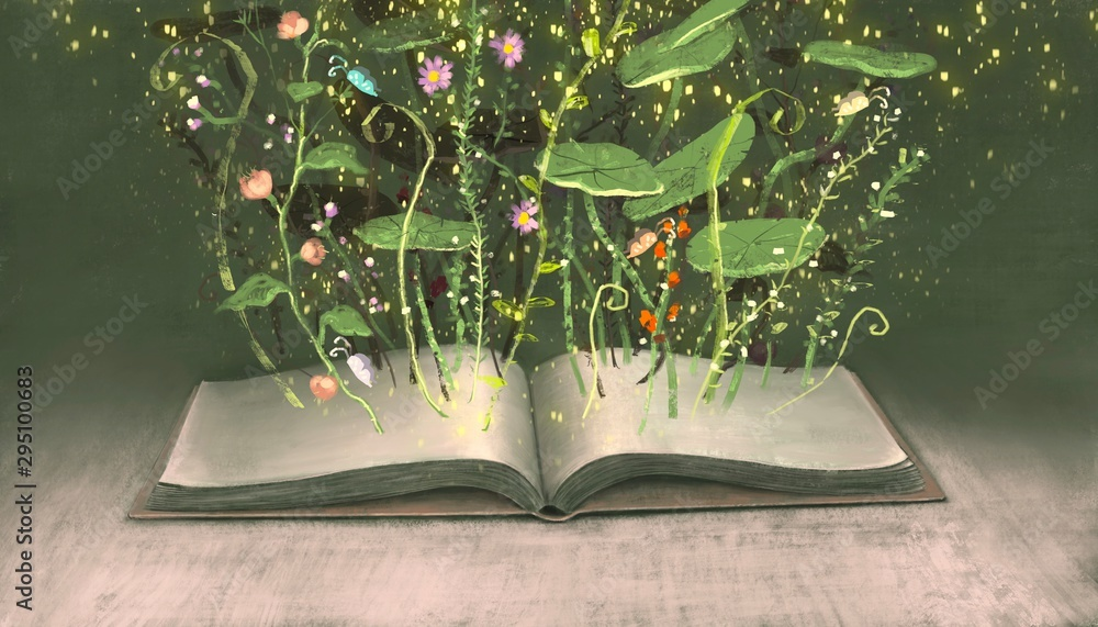 Education and learning and imagination concept, a book with flowers surreal painting