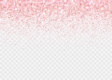 Rose Gold Glitter Partickles Isolated On Transparent Background. Pink Backdrop Shimmer Effect For Birthday Cards, Wedding Invitations, Valentine's Day Templates Etc. Falling Sparkling Confetti.