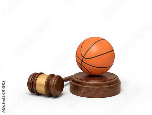 Fotografie, Tablou  3d rendering of basketball on sounding block with judge gavel lying beside