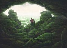Backpacker And His Dog In Nature Landscape Painting