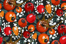 Seamless Pattern With Red And Orange Rosehip Berries, Leaves And Flowers On Black Background. Floral Print. Hand Drawn Abstract Wallpaper.