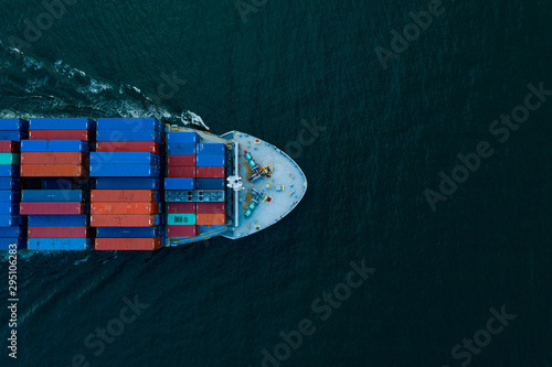 Cuadros en Lienzo Aerial view cargo ship transportation of business logistic sea freight, Cargo sh