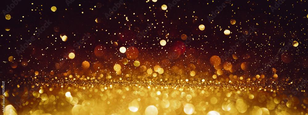 Fototapety, obrazy: Christmas Background. Golden Glitter On Shiny Red