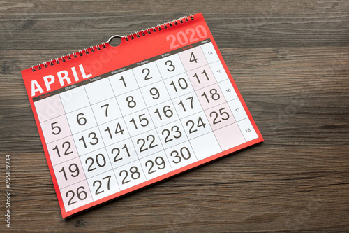 Calendar page showing the month of April 2020 Canvas Print
