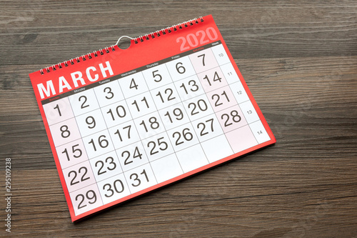 Fotografia, Obraz Calendar page showing the month of March 2020