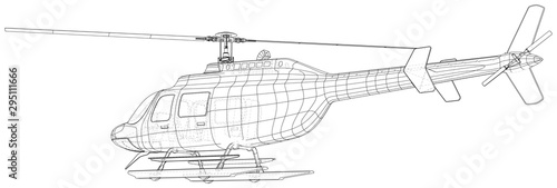 Fotomural Drawing of helicopter, Vector wireframe concept