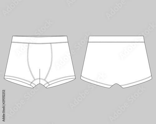 Obraz Technical sketch children's boxer shorts underwear on gray background. - fototapety do salonu