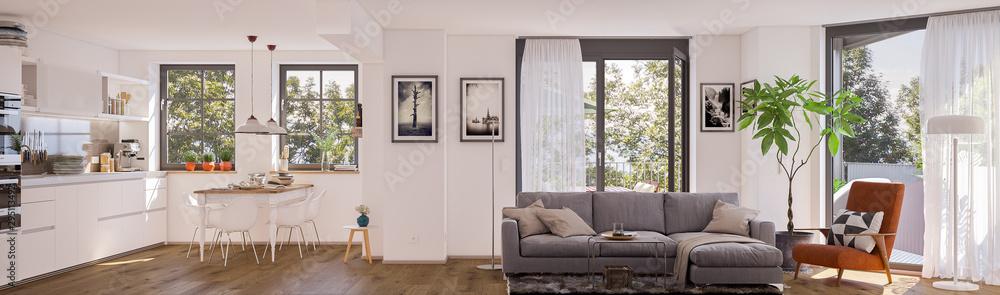 Fototapety, obrazy: panorama view inside modern european apartment
